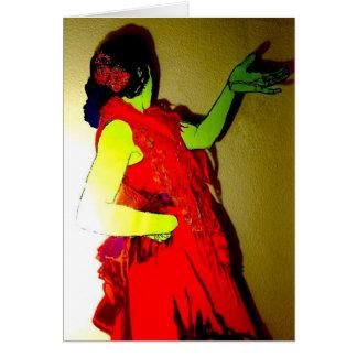Invitación doblada mano del flamenco