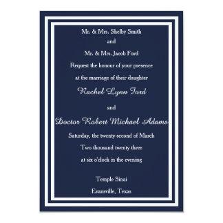 Invitación doble del blanco/del borde azul marino