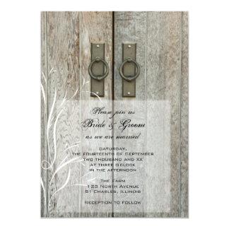 Invitación doble del boda de la granja del país de