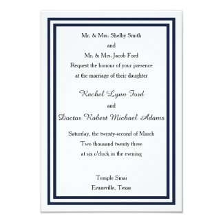 Invitación doble del boda del borde azul marino
