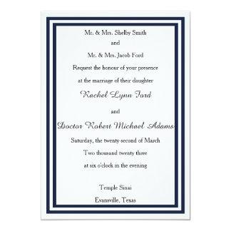 Invitación doble del borde azul marino -5x7Wedding