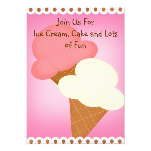 Invitación doble del cumpleaños del helado de la i