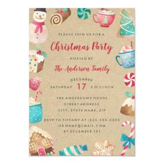 Invitación dulce de la fiesta de Navidad de la