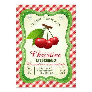 Invitación dulce del cumpleaños de las cerezas de
