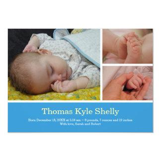 Invitación dulce del nacimiento del bebé azul de invitación 12,7 x 17,8 cm