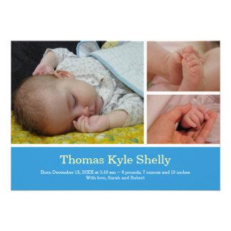 Invitación dulce del nacimiento del bebé azul de l