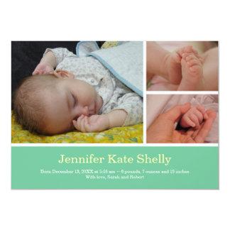Invitación dulce del nacimiento del bebé de la invitación 12,7 x 17,8 cm