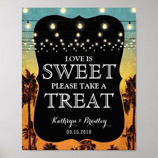 Invitación dulce hawaiana de la palma tropical de póster