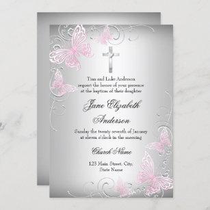 Invitación El bautismo de plata rosado de la cruz de la