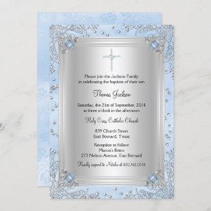 Invitación El bautismo/el bautizo azules de la joya de la