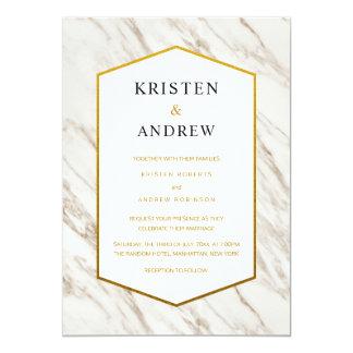 Invitación el | de mármol moderna del boda del oro