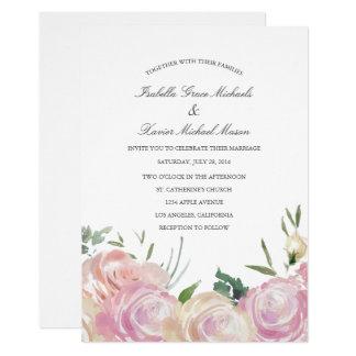 Invitación el | que se casa botánica rosada
