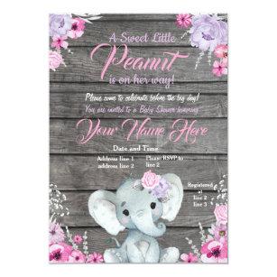 Invitación Elefante Baby Shower Púrpura Rústica Rosada Del