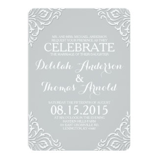 Invitación elegante afiligranada del boda del