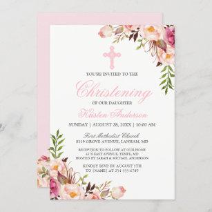 Invitación Elegante bautismo de Moda rosada floral