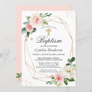 Invitación Elegante bautismo floral rosa y bautizo en Rubor