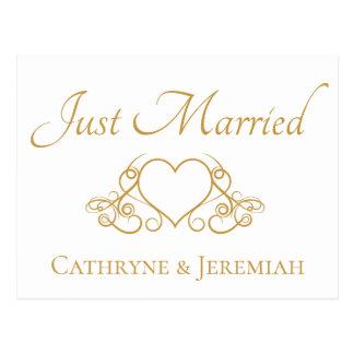 Invitación elegante casada del boda del oro apenas