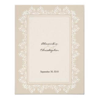 Invitación elegante clásica del boda del damasco invitación 10,8 x 13,9 cm