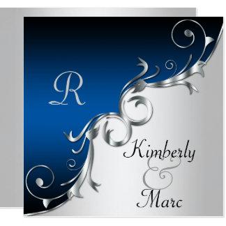 Invitación elegante de la bodas de plata azul y