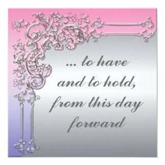 Invitación elegante de la bodas de plata rosada,
