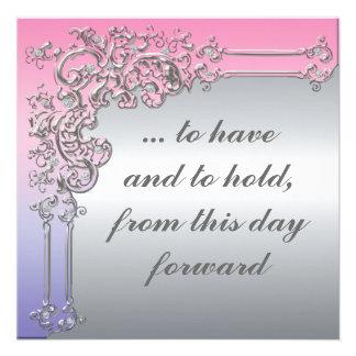 Invitación elegante de la bodas de plata rosada p