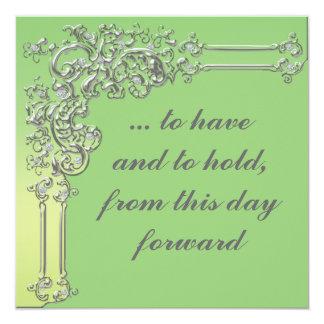 Invitación elegante de la bodas de plata verde y
