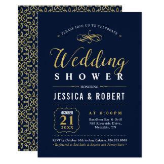 Invitación elegante de la ducha del boda de la
