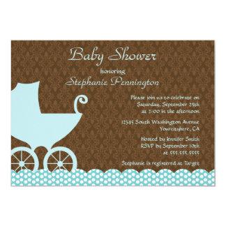 Invitación elegante de la ducha del carro de bebé