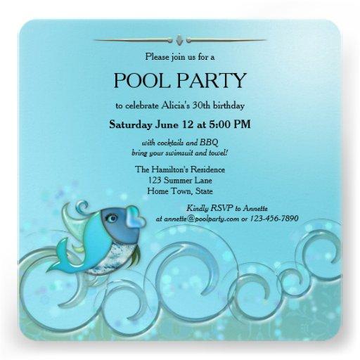 Invitación elegante de la fiesta en la piscina del