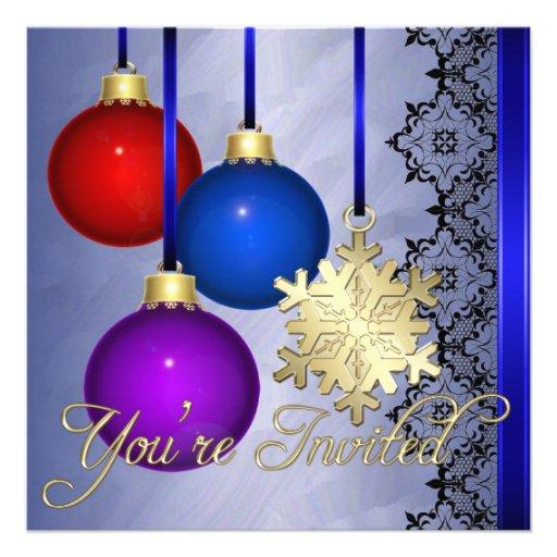 Invitación elegante de la hoja azul de las decorac