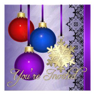 Invitación elegante de la hoja púrpura de las deco
