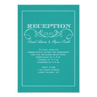 Invitación elegante de la recepción de la turquesa