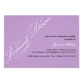 Invitación elegante de la violeta de la cena del