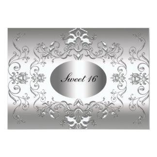 Invitación elegante de plata del dulce 16