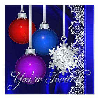 Invitación elegante de seda azul de las
