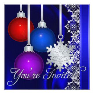 Invitación elegante de seda azul de las decoracion