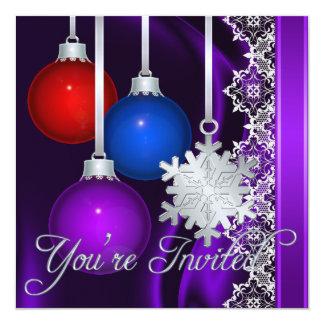 Invitación elegante de seda púrpura de las