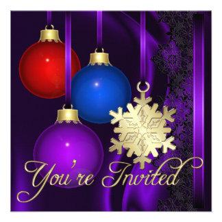 Invitación elegante de seda púrpura de las decorac