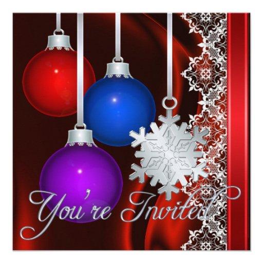 Invitación elegante de seda roja de las decoracion