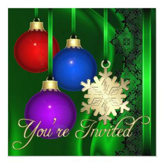 Invitación elegante de seda verde de las
