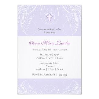 Invitación elegante del bautismo de la niña