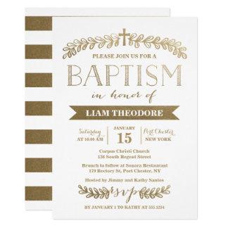 Invitación elegante del bautismo del oro el | de