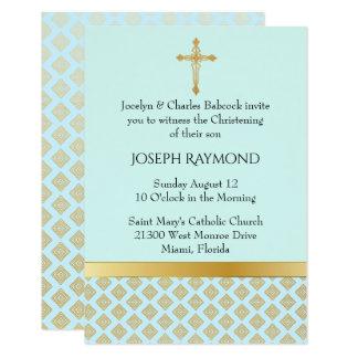 Invitación elegante del bautizo del bebé del azul