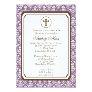 Invitación elegante del bautizo del chica -
