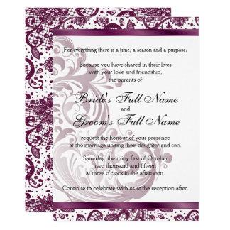 Tarjeta Invitación elegante del boda - 5x7 púrpura