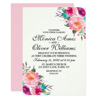 Invitación elegante del boda de la acuarela floral