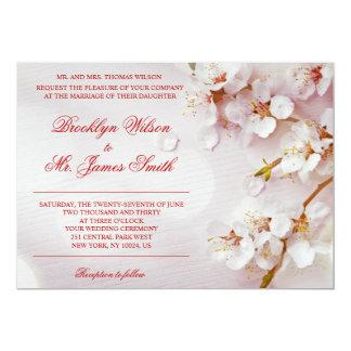 Invitación elegante del boda de la flor de cerezo