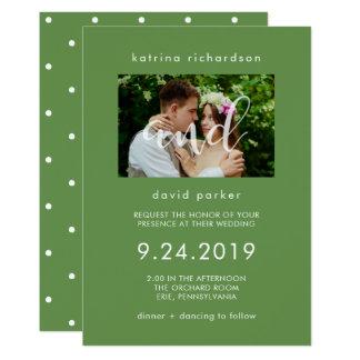 Invitación elegante del boda de la foto del verdor