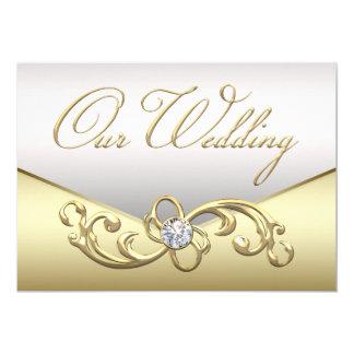 Invitación elegante del boda de la plata y del oro