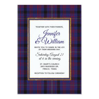 Invitación elegante del boda de la tela escocesa